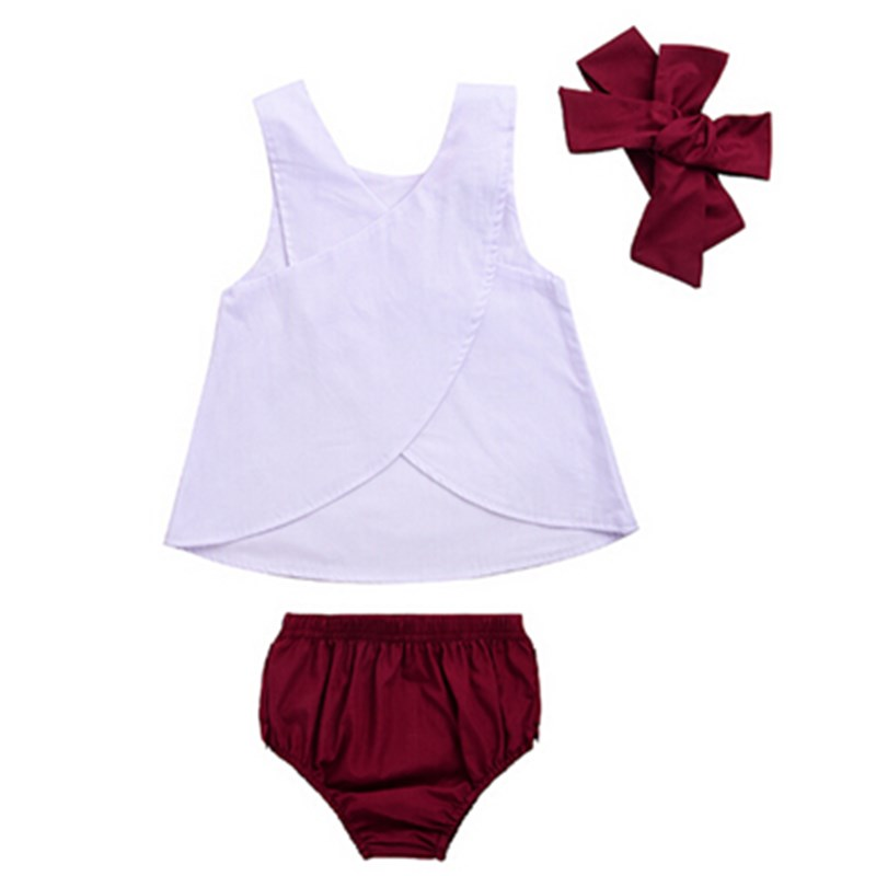 NEW Newborn Infant Toddler Kids Baby Girls Cotton Cross Tops +Shorts Pants+Headband 3PCS Summer Clothes Set Outfits Sunsuit 0-3Y
