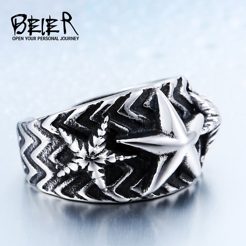 Supernatural New Design Cool Punk Big Pentacle Pentagram Ring For Man Fashion Party Biker Jewelry BR8-433