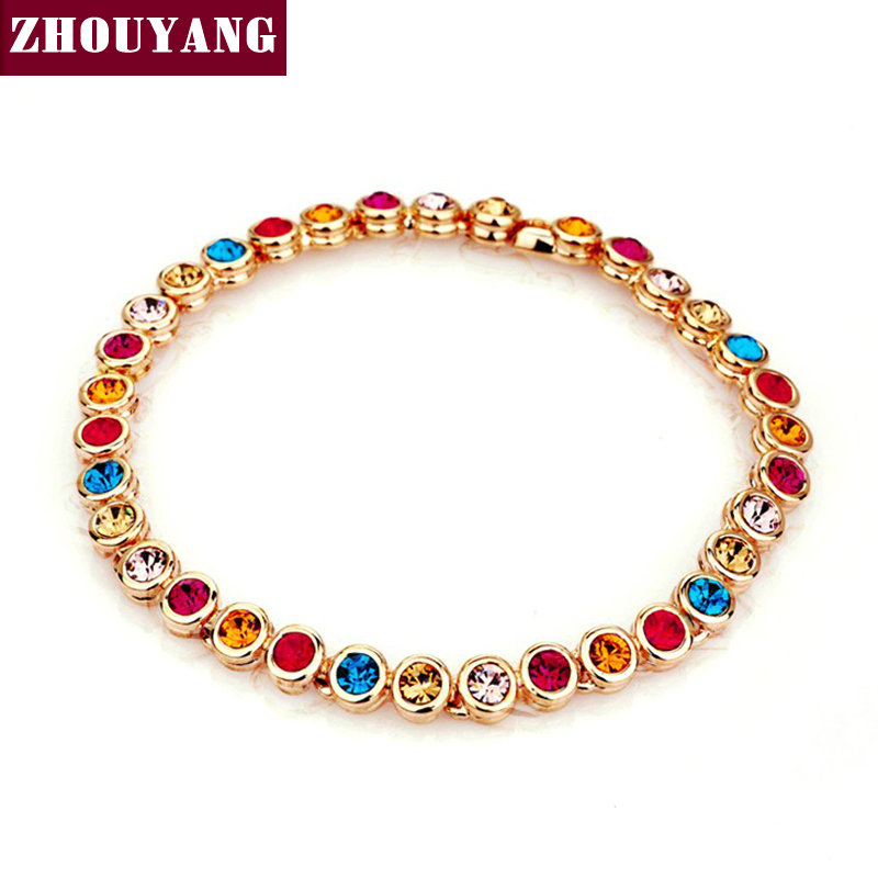 Multicolour CZ Crystal Rose Gold Color Chain Bracelet Jewelry Wedding Party Gift For Women Wholesale Top Quality ZYH026